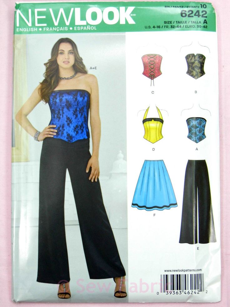 New Look 6242 Sewing Pattern - Misses' Corset Top, Trousers & Skirt