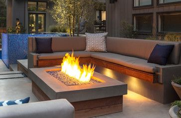 Built-in Concrete & Wood Sofa and Fire Pit - modern - Patio - Los Angeles - Terry Design, Inc.