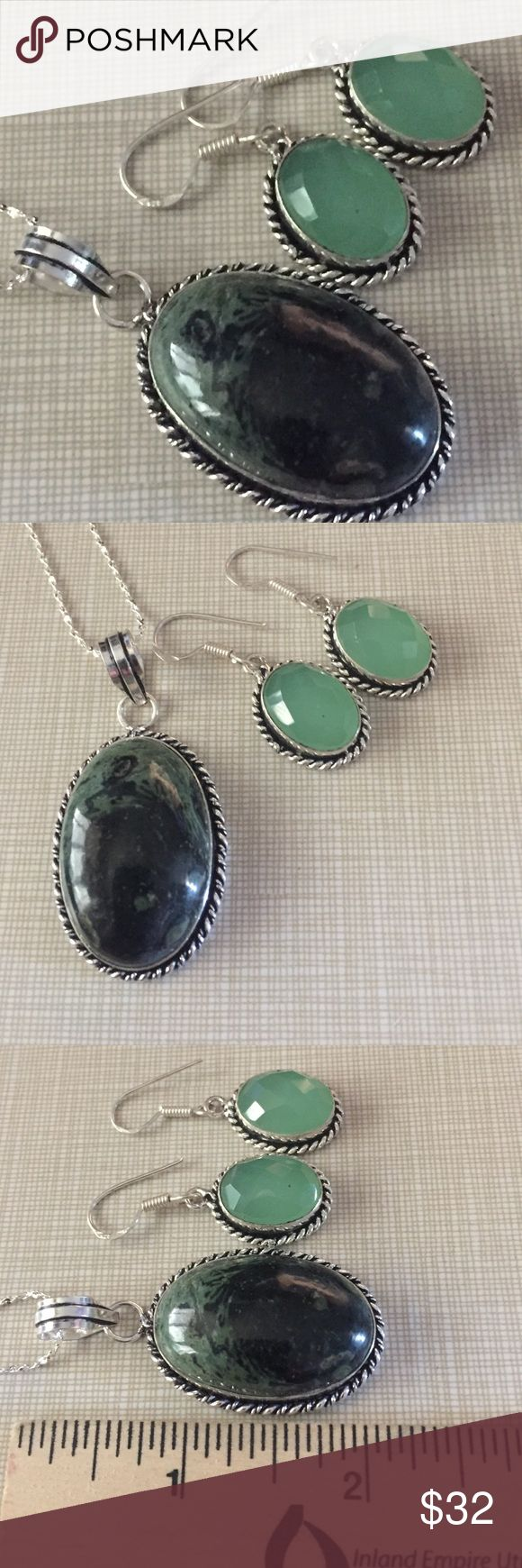 Earthy stone in this gorgeous jasper pendant Jasper pendant with nuances of green colors approximately 2' long is stamped 925 inlay with 18'chain and milky way green stone earrings 1'1/2 long artisan handcrafted NWOT stunningly beautiful Jewelry Necklaces
