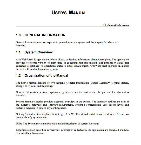 User Manual Template Word Template