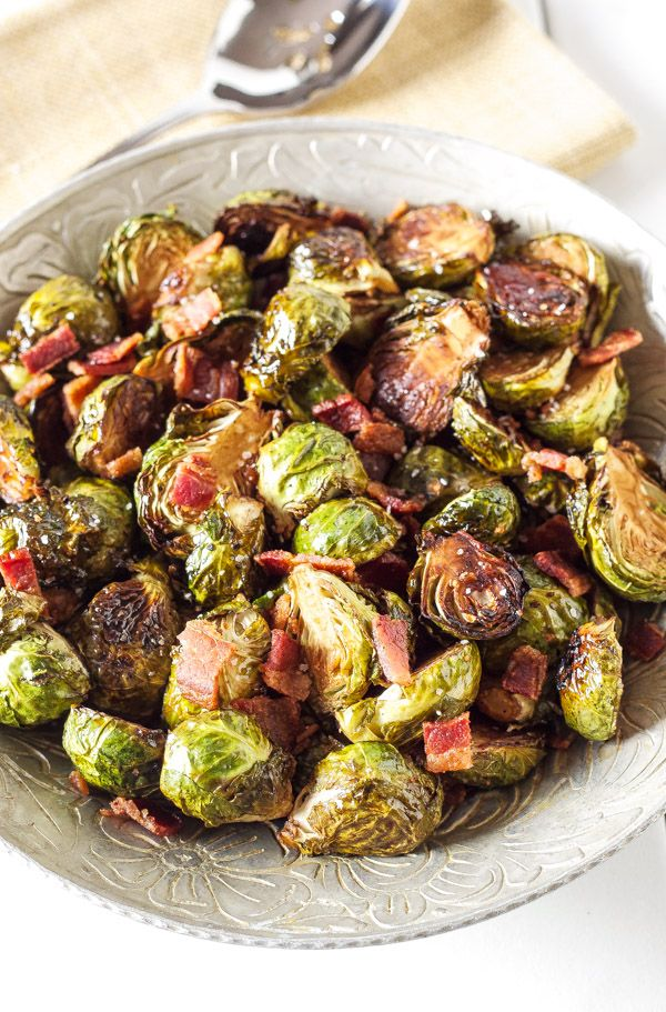 Balsamic Maple Roasted Brussels Sprouts- Balsamic, maple, use Turkey or Chicken Bacon for perfect combination of flavors for these roasted Brussels sprouts
