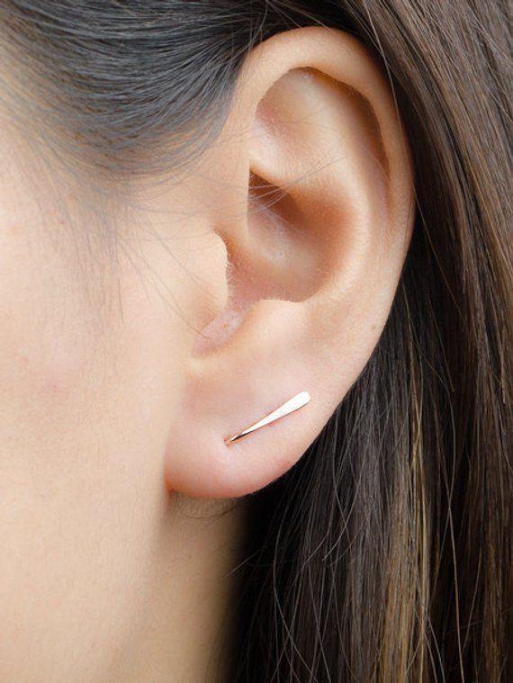 Silver Bar Earrings Sterling Silver Hammered Ear Climbers Ear Cuff Everyday Earrings Gold Pins Bar Earrings Ear Crawler Gold filled