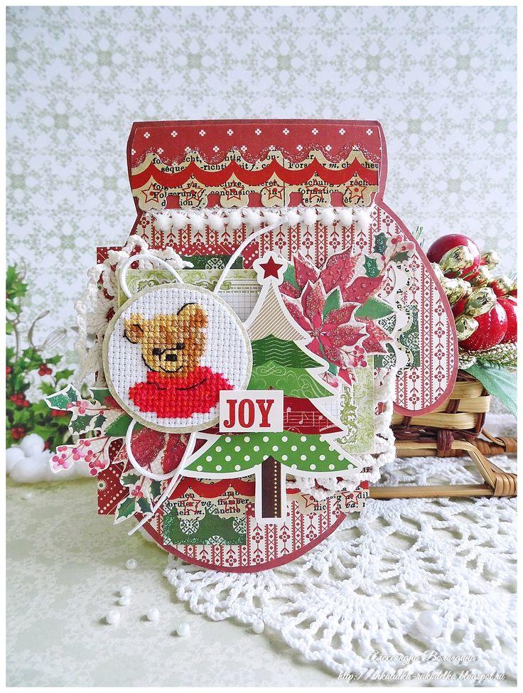 Днем, новогодняя открытка скрапбукинг варежка