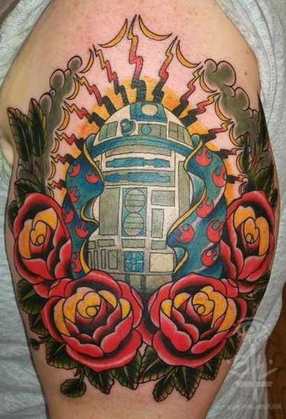 fuckyeahtattoos: r2d2 of guadalupe sean lanusse @ infinity tattoo portland, or www.seanlanusse.com