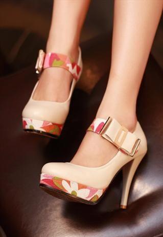 4 colors simple platform button high heels pumps