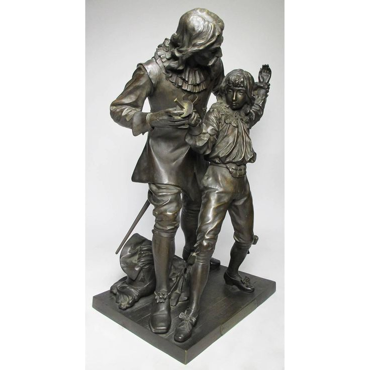 "19th Century Bronze Figural Group ""The Fencing Lesson"" by Adrien-Etienne Gaudez 