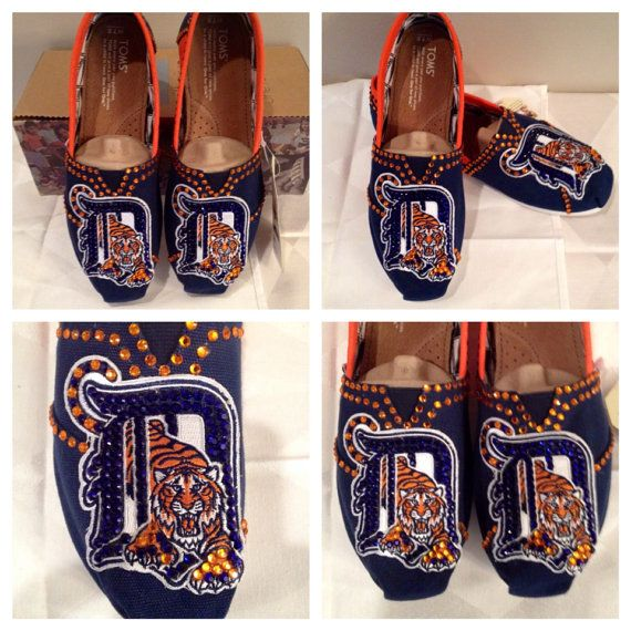 Detroit Tigers womans shoes, custom Detroit Tigers Toms, hotfix rhinestones , Detroit Tigers apparel free shipping, Detroit Tigers toms on Etsy, $130.00