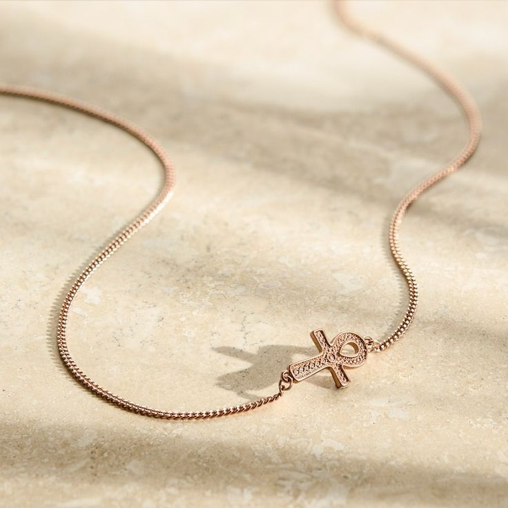 John Greed Ankh Rose Gold Plated Sterling Silver Asymetric Necklace | John Greed Jewellery
