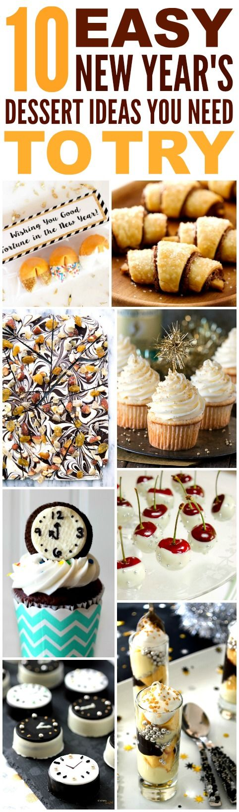 These 10 Easy and Delicious New Year's Dessert Ideas are THE BEST! I'm so glad I found these AMAZING recipes! Now I know what I'll make for the holidays! Definitely pinning!