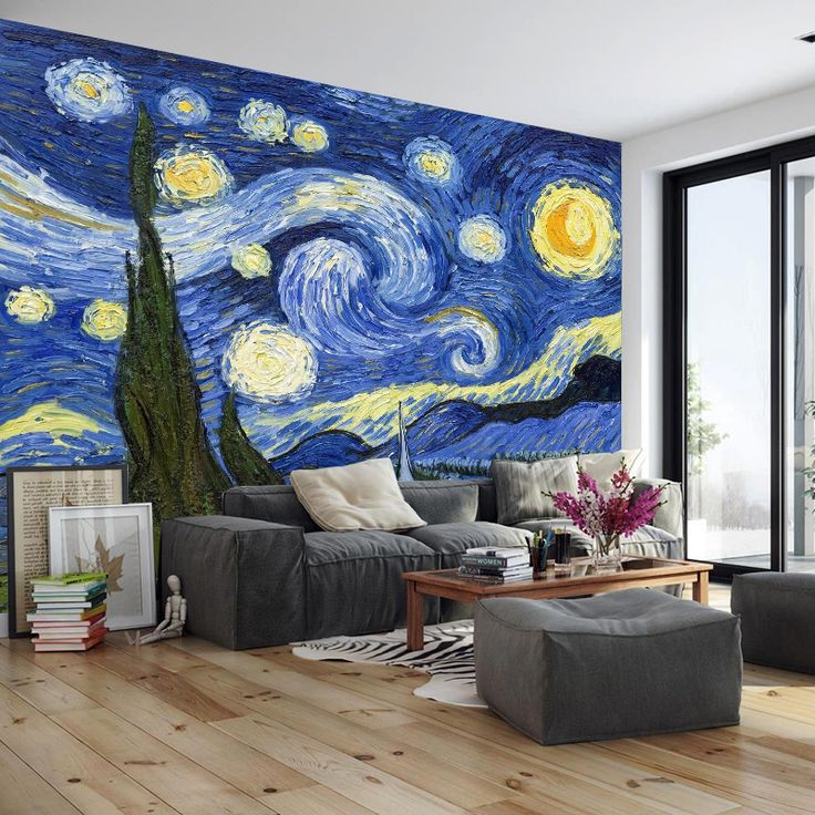 Continental Star Van Gogh painting wallpaper abstract seamless wallpaper art custom creative living room wall paintings TV bac