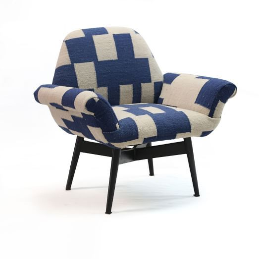 Orly Wood Upholstered Chair, Blue Checker