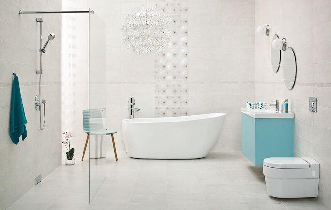 Nirrad / Niro - łazienkowe płytki ceramiczne 20x60 cm w kolorze białym i szarym