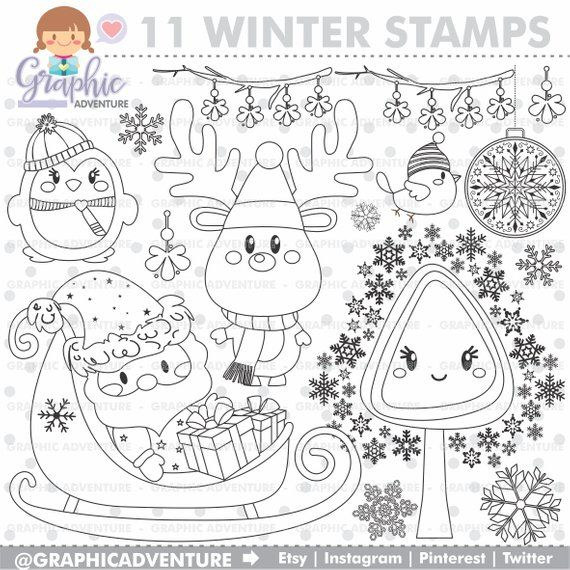 Christmas Stamps Winter Stamps Commercial Use Digi Stamp Etsy Digi Stamp Christmas Stamps Coloring Pages