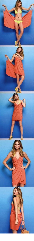 Une robe de plage toute simple à faire avec un morceau de tissu rectangulaire et deux chutes de tissu...