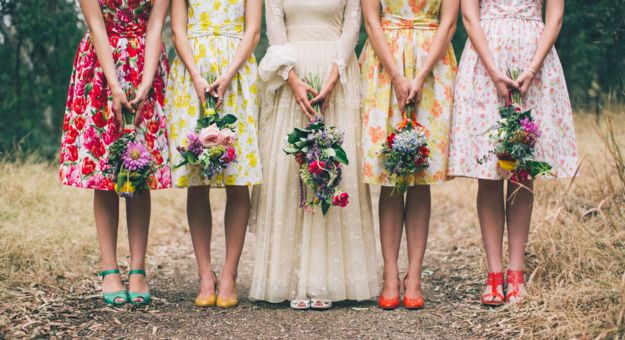 Carefully-curated mismatched bridesmaid dresses.