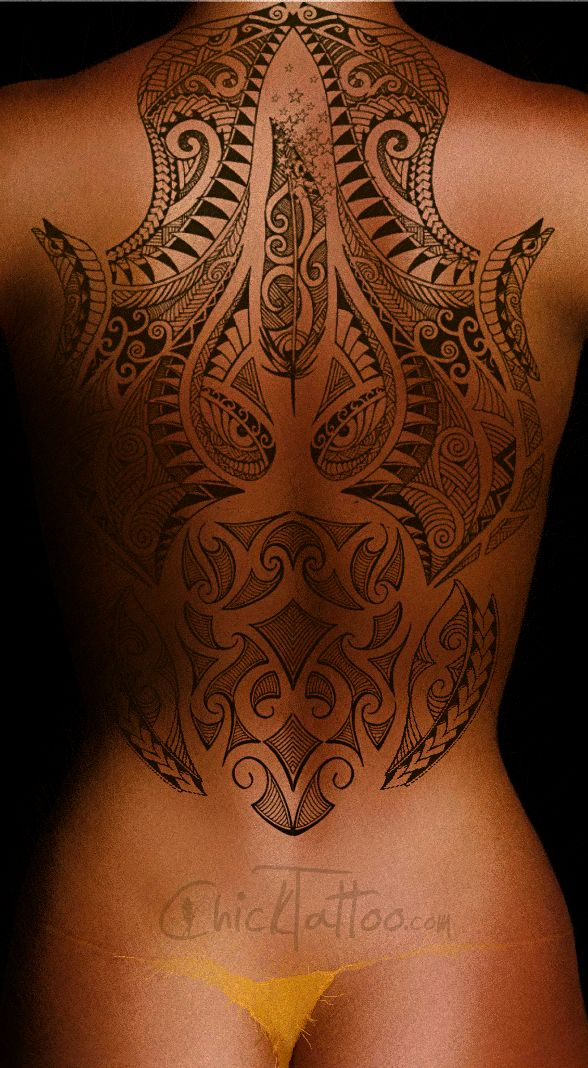 Wild Polynesian Style Tattoo Design by ChickTattoo