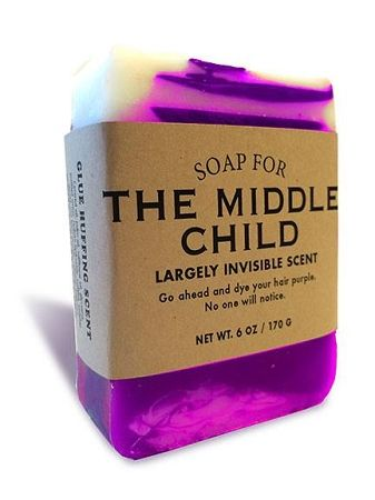 $10.95 - Soap for The Middle Child 170g / 6oz - Largely Invisible Scent. Go ahead and dye your hair purple. No one will notice.