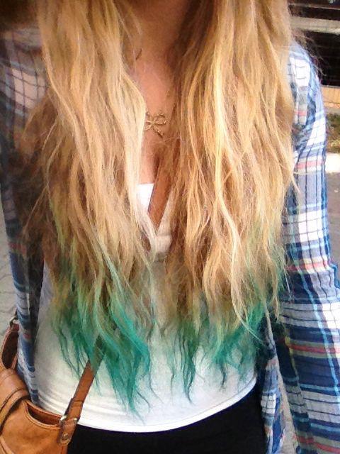 Turquoise Dip Dyed Hair Dip Dye Hair Hair Dye Tips