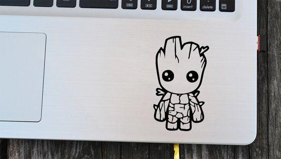 Bebé etiqueta de vinilo de Groot, guardianes de la galaxia, portátil etiqueta, etiquetas de vinilo, etiqueta de macbook, etiqueta engomada, etiqueta del coche de la pared