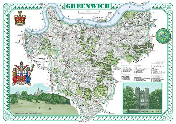 Greenwich (Borough)  illustrated map print thisismikehall on etsy