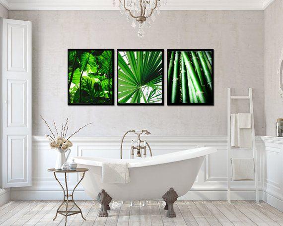 Monstera Wall Art Bamboo Printable Art Green Plants Tropical Wall Decor Palm Leaf Poster Leaves Print Botanical Wall Set Of 3 Bathroom Tropical Wall Decor Modern Bathroom Wall Art Wall Art