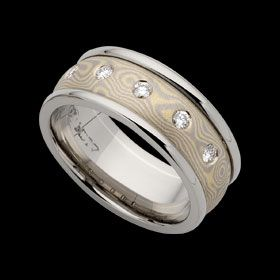 Mokume Gane ring C717 with diamonds