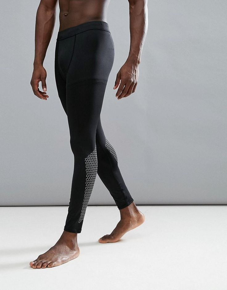 NEW LOOK SPORT REFLECTIVE TIGHTS WITH PRINT IN BLACK - BLACK. #newlook #cloth #