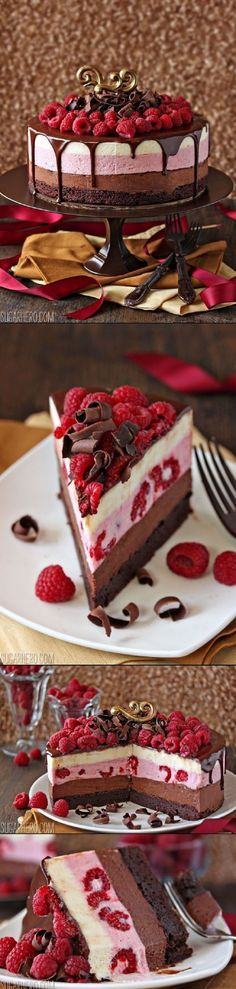 Chocolate Raspberry Mousse Cake - 16 Deliciously Different Fruit Desserts for Summer   GleamItUp