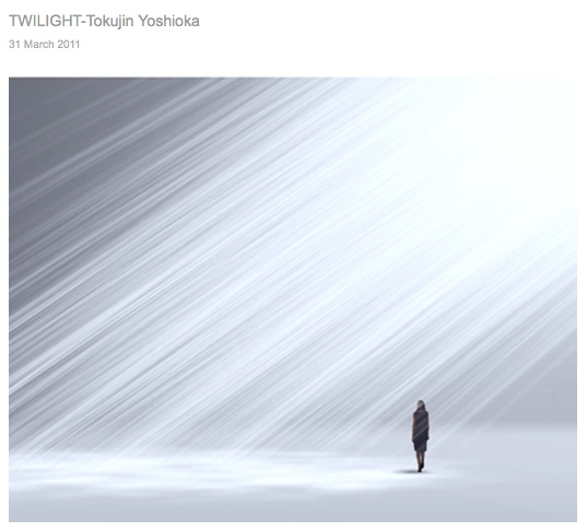 """tokujin yoshioka- The installation """"Twilight"""" creates the mood of the whole space with the light and aura. it would remind people of the natural phenomenon, known as the angel's ladder."""