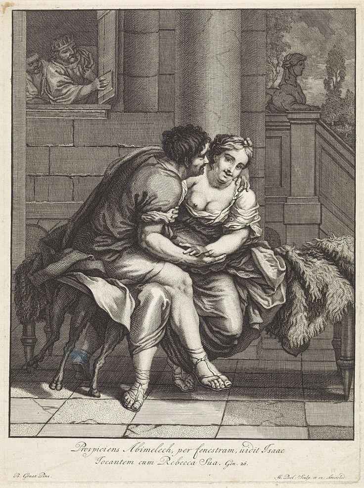 Matthijs Pool | Isaak en Rebekka in Gerar, Matthijs Pool, 1696 - 1727 | Abimelech, koning van de Filistijnen, kijkt uit zijn venster en ziet hoe Isaak Rebekka aan het liefkozen is. In de marge een tweeregelig Bijbelcitaat uit Gen. 26, in het Latijn.