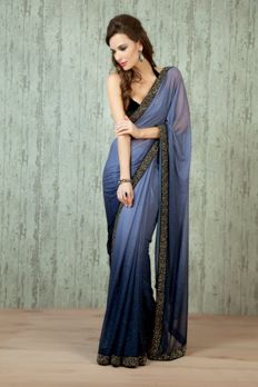 W16-54- Lycra Shaded saree with velvet blouse embellished with stone work