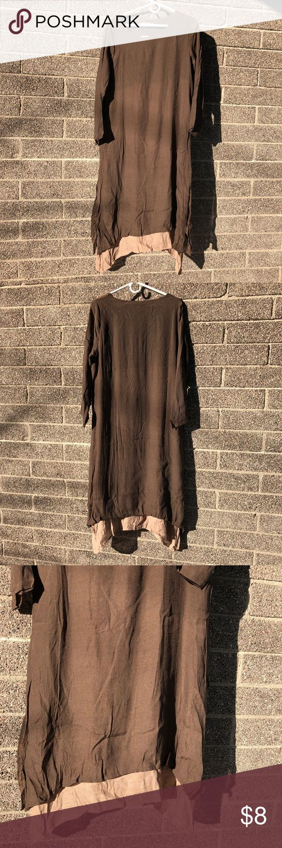 Women's brown long sleeve large dress 3 for $12 Women's brown long sleeve dress. Brand new with tags. Has a lighter brown second layer at bottom. Large size measures bust 36 inches and length 44 inches. XL size measure bust 37 inches and length 45 inches. The fabric does not have much stretch in it. 3 items for $12 just put it in a bundle and I will adjust the price ( only on select items that say this!) Dresses Long Sleeve