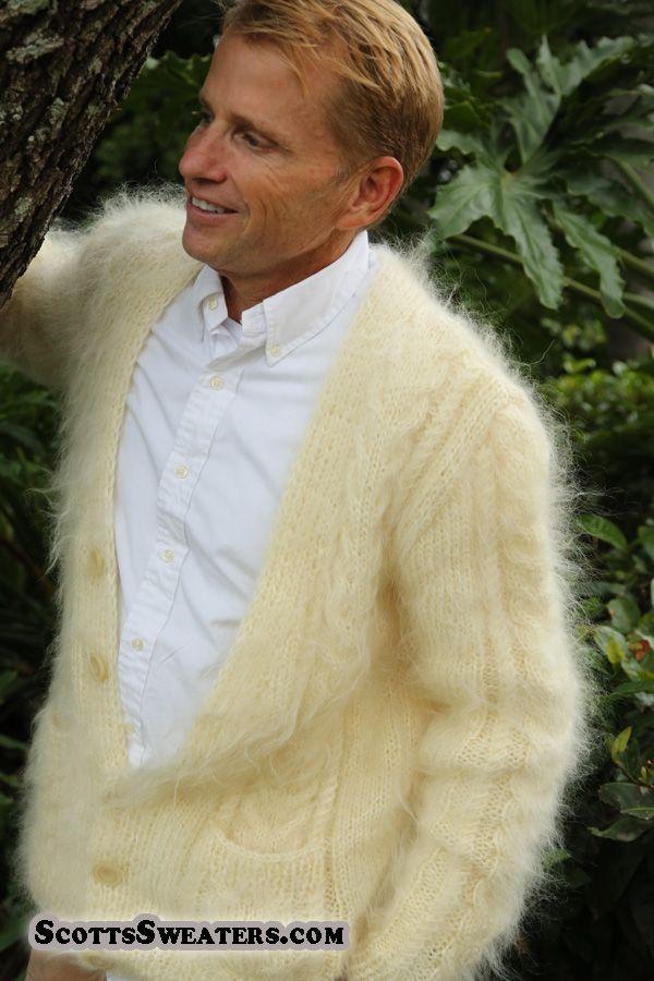 701-006 Men's New Hand-Knit Soft & Fuzzy Mohair Sweater