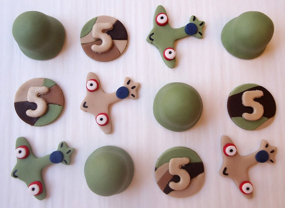 Fondant Cupcake Toppers - Army, Military