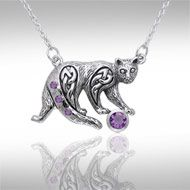 Celtic Knotwork Silver Cat Necklace TNC042 - The cat has long been a revered companion of man, sharing our lives since the time of the early Egyptians. This beautifully crafted feline is adorned with Celtic Knotwork to add meaning to the naturally mysterious character of the cat. This sterling silver necklace by Peter Stone features a fanciful feline with gemstone accent and Celtic Knotwork adornment, bringing the power of the cat totem to life in vivid detail.