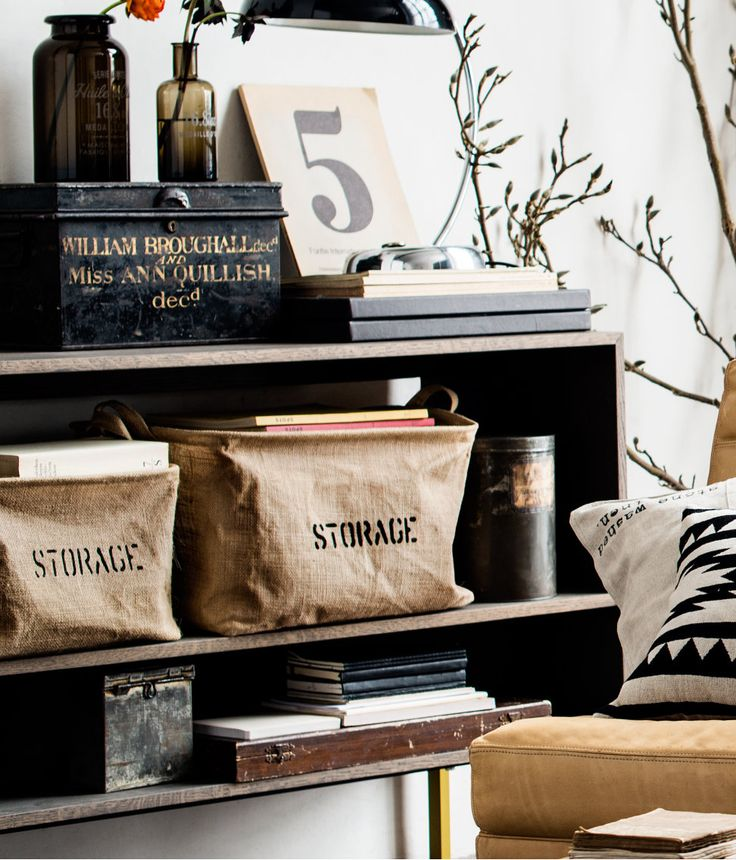 burlap storage bins from H Home.