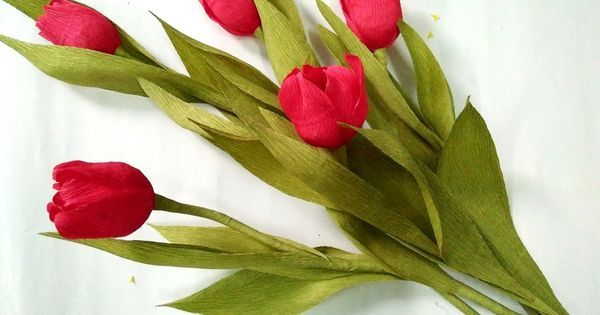 Liked on Pinterest: D.I.Y - How to make a paper tulip Part 1 - Làm hoa tulip bằng giấy nhún