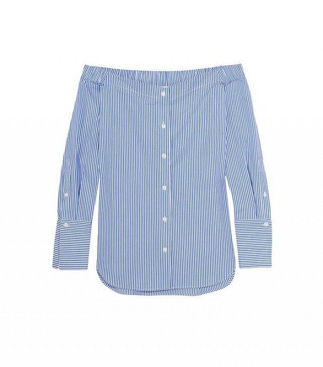 Rag & Bone Kacy Off-the-Shoulder Striped Cotton-Poplin Blouse