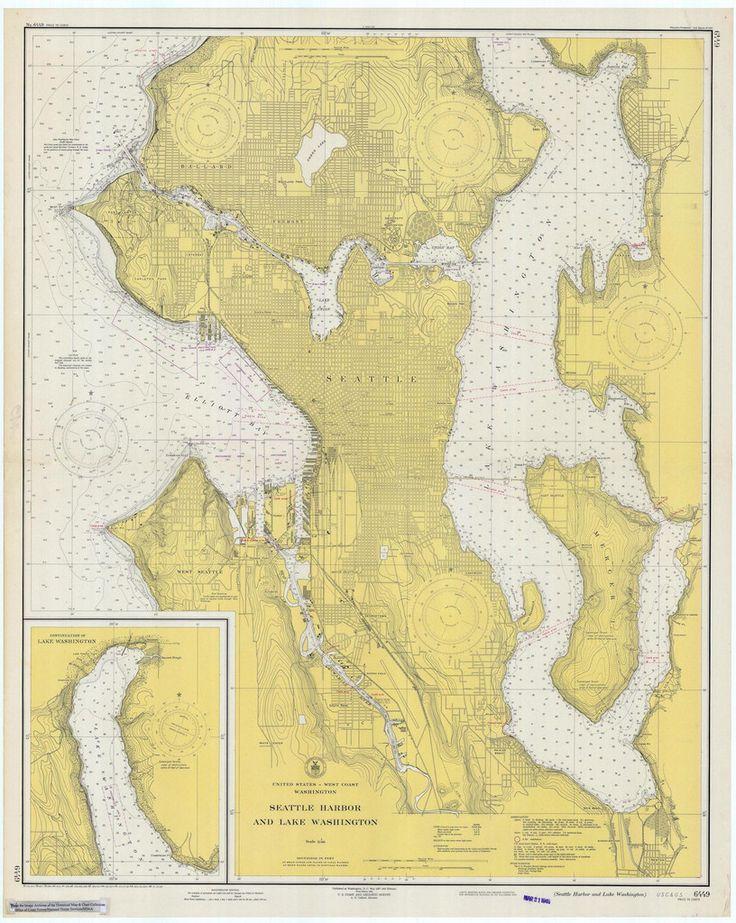 Seattle Harbor And Lake Washington Historical Map 1948