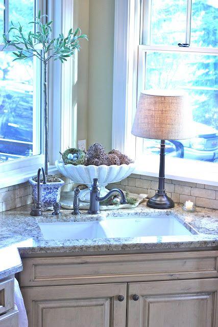 I love corner sinks with windows