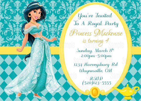Printable Princess Jasmine Aladdin Birthday by PartyInnovations09 – Princess Jasmine Birthday Invitations