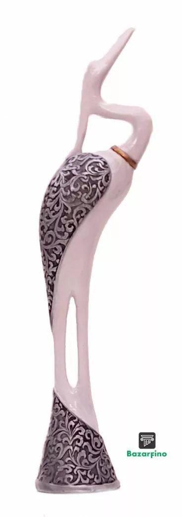 estatueta garça - enfeita garça branca - 41 cm