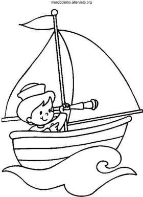 disegno colorare bambino barche