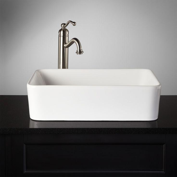 Blanton Rectangular Vessel Sink Bathroom Faucet Centers No Faucet Hole Overflow No Item