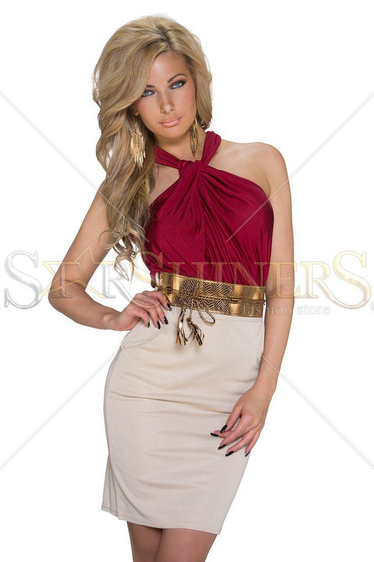 Rochie Extra Chic Burgundy. Rochie midi dama, mulata pe corp, fara maneci, accesorizata cu curea in talie. Alege din colectia de rochii dama 2015-2016! Lungime 80 cm de sub brat.