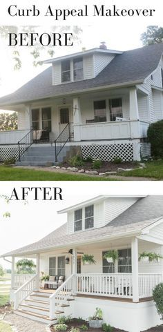 A front porch makeover reveals fresh farmhouse curb appeal.
