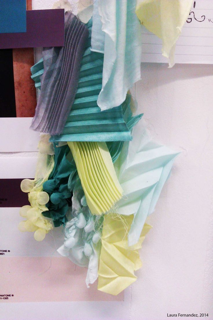 Collection of fabric manipulations. Using laser cut moulds and a steamer to heat set the pleats and folds