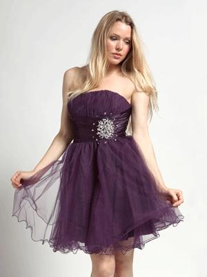 Cute purple, short and flowy Bridemaids dress