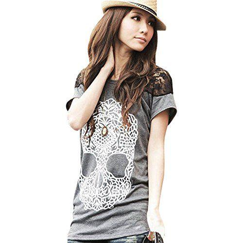 Damen Basic T-shirt Tops Bluse Skull Schädel Druck DR0579 Grau Gr.M