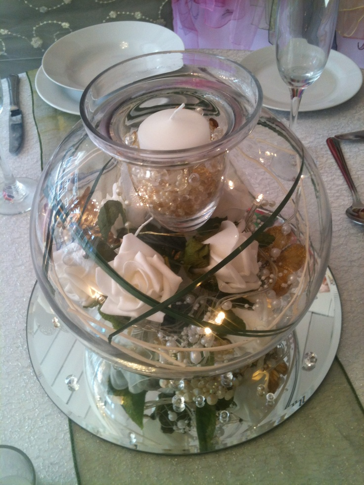 Large fish bowl with floating candle insert wedding for Large fish bowl